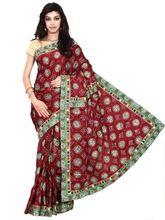 Italian Silk Saree In Maroon Color