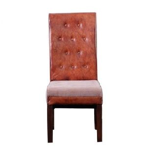 Genuine Leather And Canvas High Back Dining Chair