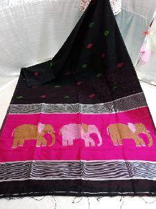 Designer Cotton Silk Elephant Motif Jamdani Saree