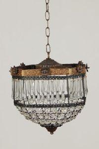 Brass, Glass Chandelier