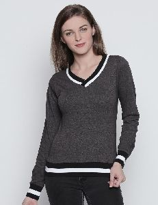 Women V Neck Fullsleeve Grey Color Cotton Pullover