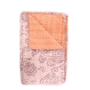 Fab India Kantha Cotton Quilt Handmade Block Print Bed Cover