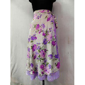 Long Skirt Neck Wrap Dress Floral Print Skirts
