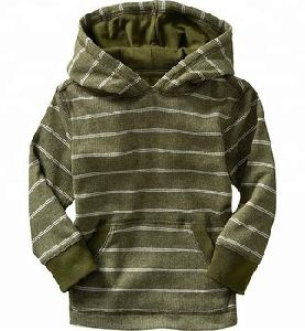 Waffle Knit Striped Pullover Hoodies