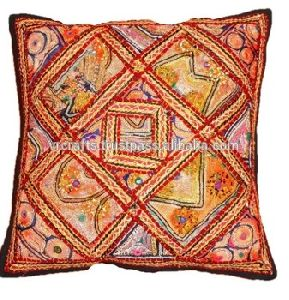 Antique Zari Work Embroidery 100 % Handmade Cotton Cushion Covers