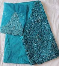 TEAL BLUE new african raw silk george lace fabric