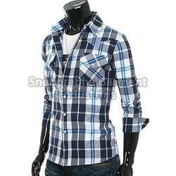 Mens Checkered Cotton Casual Shirts