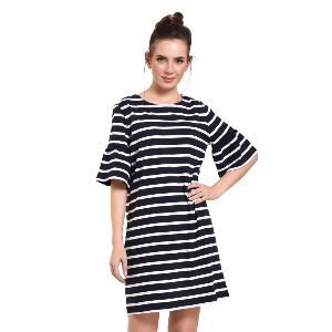 Blue And White Stripe Round Neck Casual Dress For Women