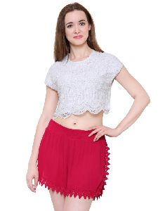 Guipure Lace Crop Top For Women