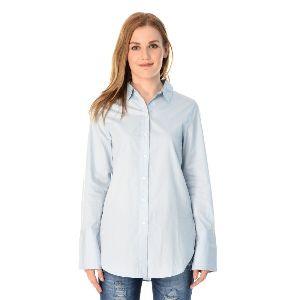 Sky Blue Cotton Shirt For Women