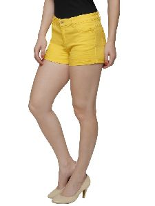 Women Denim Shorts In Yellow