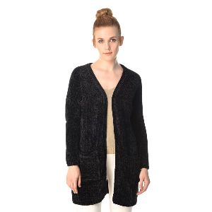 Wool Knitted Black Cardigan For Women