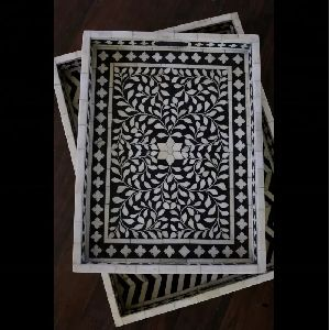 Black And White Bone Inlay Serving Tray