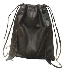 Genuine Leather Drawstring Backpack
