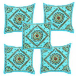 Beautiful Hand Work With Mirrior Turquoise Cushion Cover
