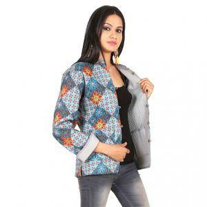 Block Printed Art Cotton Quilted Handmade Reversible Women Jacket