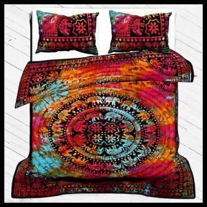 Elephant Print Duvet Cover Set, 100% Cotton Bedding Set Queen Size With Pillow Cover multi color