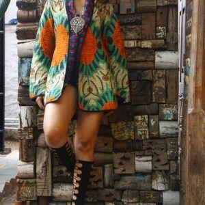 Ethnic Floral Jacket Reversible Kantha Quilt