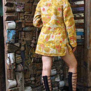 Ethnic Floral Women Wear Coat Reversible Kantha Quilt Jacket