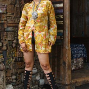 Ethnic Floral Women Wear Coat Reversible Kantha Quilt