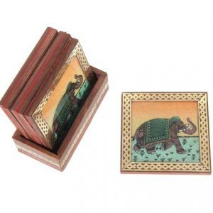 Gemstone Elephant Painting Tea or Coffee Coaster Set