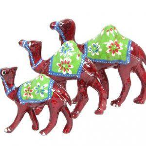 Home Decorative Wood Carved Camel figurine Set of 3 Pc