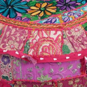 Indian Embroidered Patchwork Ottoman Cover Pouf Cover