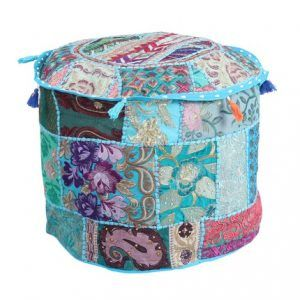 Indian Home Decorative Handmade Pouf Ottoman (Cover Only)