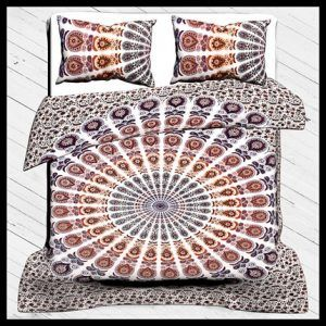 Indian Traditional Print Duvet Cover Set, 100% Cotton Bedding Set Queen Size With Pillow Cover