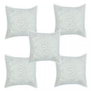 5 PCS Hand Work With Mirrior White 1616 inch Cushion Cover
