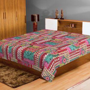 Jaipur Textile Hub Handmade Vintage Cotton Kantha Quilt Gudri Bed Cover SGG-51