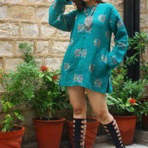 Kantha Quilt Jacket Ethnic Jacket Floral Women Wear Coat Reversible