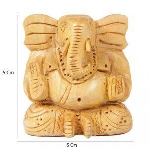 Lord Ganesha Figurine Hand Carved Wooden Hindu God 5Cm