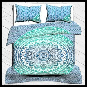 Ombre Print Duvet Cover Set, 100% Cotton Bedding Set Queen Size With Pillow Cover