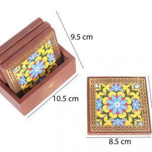 Set of Gemstone Floral Painting Tea Coaster or Coffee Coaster