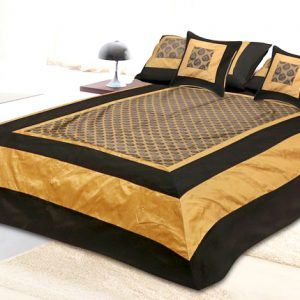 Silk Double Bedspread 300 TC ( Set of 5pc ) With 2 Pillow And 2 Cushion Covers Black