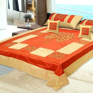 Silk Double Bedspread 300 TC ( Set of 5pc ) With 2 Pillow And 2 Cushion Covers
