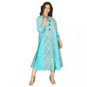 Woman Turquoise Kurti Beautiful Dress