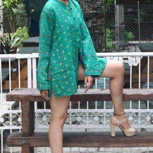 Women Wear Coat Reversible Kantha Quilt