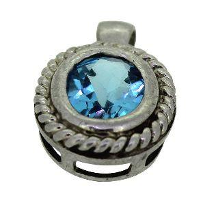Blue Topaz Gemstone Sterling Silver Pendant