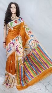 Batik Murshidabad Silk Printed Sarees