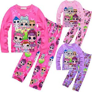 Girls Multi Color Night Suit