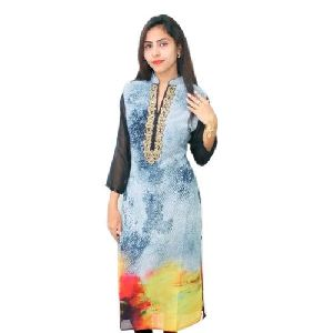 Ladies Silk Printed Kurti