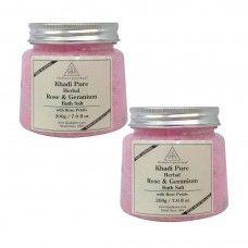Khadi Pure Herbal Rose Petals Geranium Bath Salt
