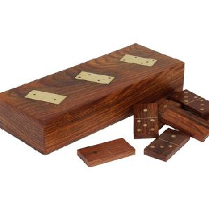 Wooden Handmade Single Dominoes Domino Set Game Box