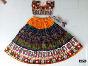 Glamourous Navratri Special Multi-coloured Ghagghra In Cotton Fabri