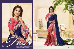 Jari And Thread Embroidered Georgette Cheap Saree