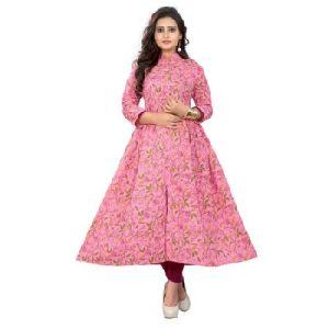 Fancy Pink Cotton Kurti