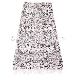 Coton Hand Loomed Block Print Durries Fringed Vintage Floor Mat