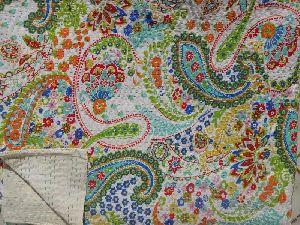 Handmade Paisley Printed Kantha Bedspread